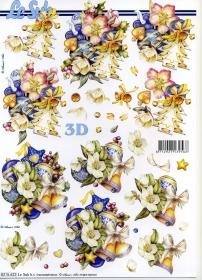 3D Bogen Weihnachten blau - Format A4