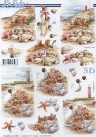 3D Bogen Muscheln + Leuchtturm - Format A4