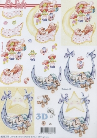3D Bogen Baby rosa+blau - Format A4