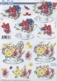 3D Bogen Blumen in der Tasse - Format A4