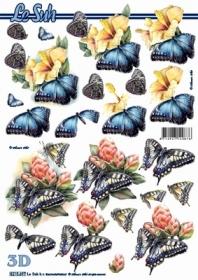 3D Bogen Blumen + Schmetterlinge - Format A4