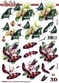 3D Bogen Blumen+ Schmetterlinge - Format A4