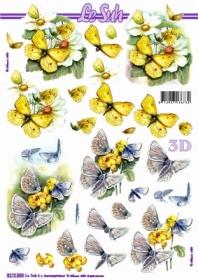 3D Bogen Schmettterlinge gelb - Format A4