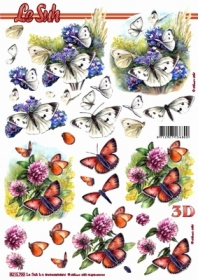 3D Bogen Schmetterlinge wei? - Format A4