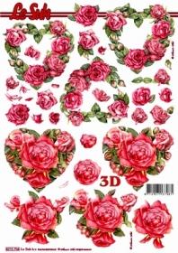 3D Bogen Rosenherzen - Format A4