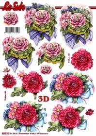 3D Bogen Format A4 - Blumen - Format A4