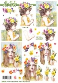 3D Bogen Blumen-Mädchen - Format A4
