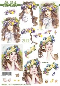3D Bogen Kinder mit Blumen im Haar - Format A4