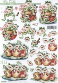 3D Bogen Frösche mit Äpfel Format A4 - Format A4