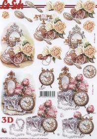3D Bogen Uhr+Blumen+Spiegel Format A4 - Format A4
