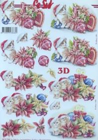 3D Bogen Weihnachtskätzchen - Format A4