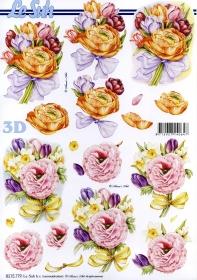 3D Bogen Blumen mit Schleife - Format A4