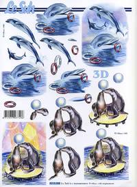 3D Bogen Seehund+Delphine - Format A4