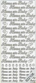 Stickers Hurra ein Baby - silber