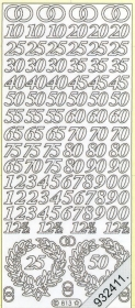 Stickers Figuren / Motive / Zahlen - silber