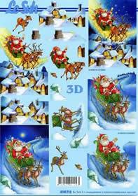 3D Bogen Weihnachtsmann mit Schlitten - Format A4
