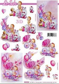 3D Bogen Babys - Mädchen - Format A4