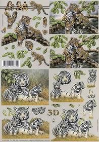3D Bogen Leopard + Tiger - Format A4