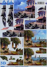 3D Bogen Meeresblick - Terrasse - Format A4