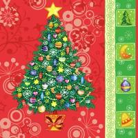 Servietten 33x33 cm - Christmas Tree Red
