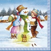 Servietten 33x33 cm - Kinder bauen einen Schneemann
