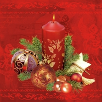 Servietten 33x33 cm - Red Candle & Baubles Red