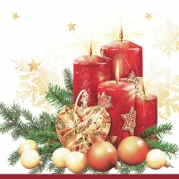 Servietten 33x33 cm - Red Candles & Heart Bauble White