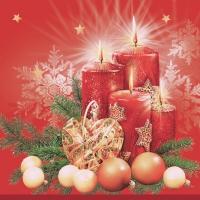 Servietten 33x33 cm - Red Candles & Heart Bauble Red