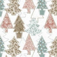 Servietten 33x33 cm - Graphic Xmas Trees White