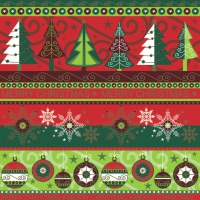 Servietten 33x33 cm - Xmas Wallpaper Red & Green