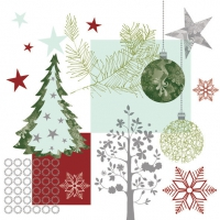 Servietten 33x33 cm - Christmas Graphic Pattern