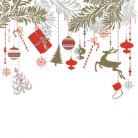 Servietten 33x33 cm - Xmas Hanging Decorations