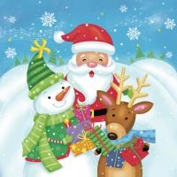 Servietten 33x33 cm - Santa, Snowman & Reindeer