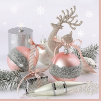 Servietten 33x33 cm - Xmas Pink & Silver Decorations