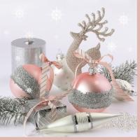 Servietten 33x33 cm - Xmas Pink & Silver Decorations