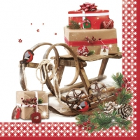 Servietten 33x33 cm - Vintage Sleigh with Presents