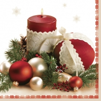 Servietten 33x33 cm - Claret Candle & Glass Baubles
