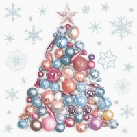 Servietten 33x33 cm - Xmas Tree made from Baubles