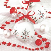 Servietten 33x33 cm - White & Red Baubles