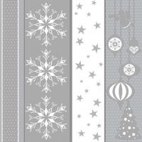 Servietten 33x33 cm - White & Silver Xmas Pattern