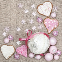 Servietten 33x33 cm - White & Pink Baubles and Hearts