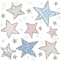 Servietten 33x33 cm - Irregular Graphic Stars Blue & Pink
