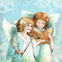 Servietten 33x33 cm - Two Angels Singing & Playing