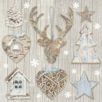 Servietten 33x33 cm - Xmas Decoration with Blue