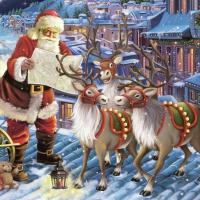 Servietten 33x33 cm - Santa with Reindeers on Roof