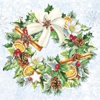 Servietten 33x33 cm - Weihnachtskranz
