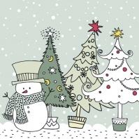 Servietten 33x33 cm - Graphic Snowman and Xmas Trees