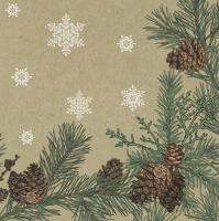 Servietten 33x33 cm - Graphic Pines and Twigs Frame on Kraft