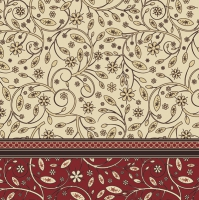 Servietten 33x33 cm - Floral Pattern Deep Red
