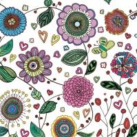 Servietten 33x33 cm - Blumen Muster